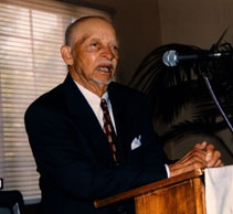 """Byron Johnson, husband of Christine Johnson, spoke at the lecture entitled """"The WayMaker Project"""" In 2002, the same year the lecture series was re-named The Byron & Christine Johnson Lecture/Discussion Series."""